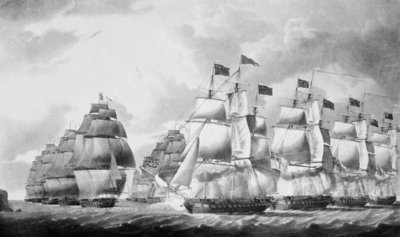 English sea action with the combined French and Italian squadrons close to the Island of Lissa, 13 March 1811 by Robert Dodd - print