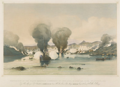 Destruction of the pirate squadron commanded by Chui Apoo, in Byas Bay, China, 1st October 1849 by Edward Cree - print