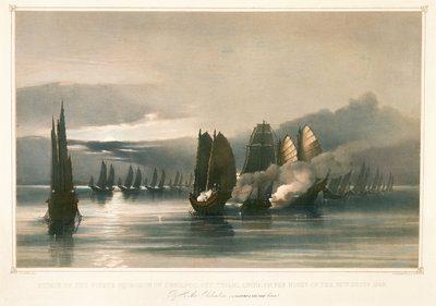 Attack on the pirate squadron of Chuiapoo, off Tysami, China, 28 September 1849 by Edward Cree - print
