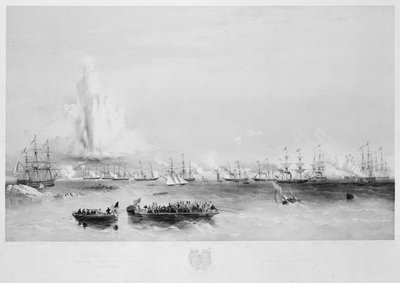 The English and French fleets in the Baltic: combined attack on the forts at Bomarsund, 15 August 1854 by Oswald Walter Brierly - print