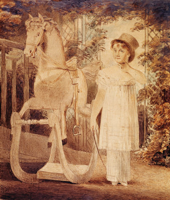 Horatia Nelson in top hat, dress and pantaloons with a rocking horse by unknown - print