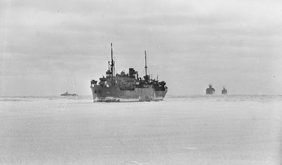 Merchant ships steaming through thin sea ice by unknown - print