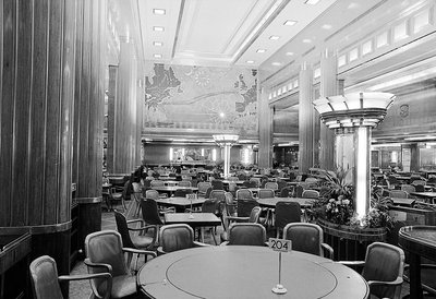 Dining area of the Cunard liner RMS 'Queen Mary' (1936) by unknown - print