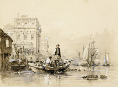 'Jack helping Freeman the fisherman' [off Greenwich Hospital]. Original illustration for Marryat's 'Poor Jack' (1840) by Clarkson Stanfield - print