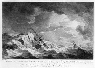 The wreck of the 'Nuestra Senora de los Remedios' (alias 'La Ninfa')... by Charles Brooking - print
