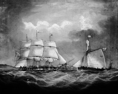 The barque 'Iris' at sea by Thomas Buttersworth - print