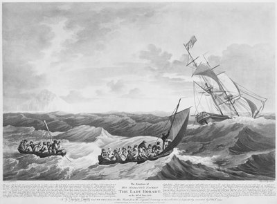The situation of His Majesty's Packet 'The Lady Hobart' on 28 June 1803 by John Thomas Serres - print