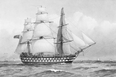 HMS 'Caesar' at Spithead, 1854 by William Frederick Mitchell - print