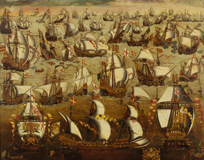 English ships and the Spanish Armada, August 1588 by English School - print