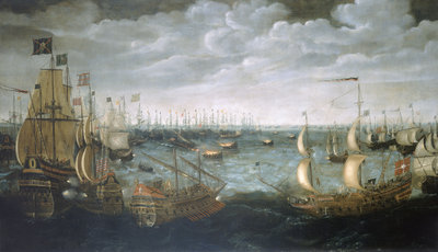 Launch of fireships against the Spanish Armada, 7 August 1588 by Aert Anthonisz - print