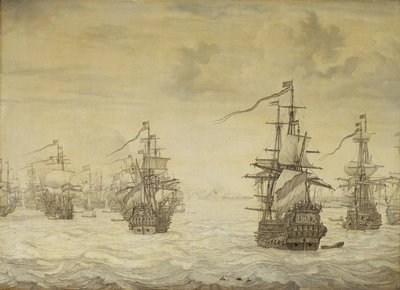Dutch attack on Harwich, July 1667 by Willem van de Velde the Elder - print