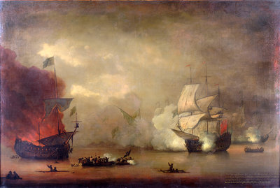 Action between HMS 'Mary Rose' and seven Algerines, 8 December, 1669 by Peter Monamy - print