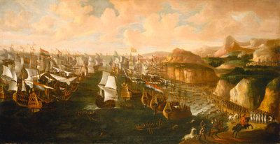 Landing of William III at Torbay, 5 November 1688 by English School - print