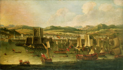 Landing of William III at Carrickfergus, 14 June 1690 by English School - print