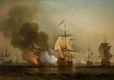 Action off Cartagena, 28 May 1708 by Samuel Scott - print