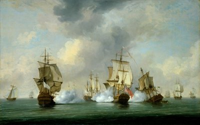 Commodore Walker's action: the Privateer 'Boscawen' engaging a fleet of French ships, 23 May 1745 by Charles Brooking - print