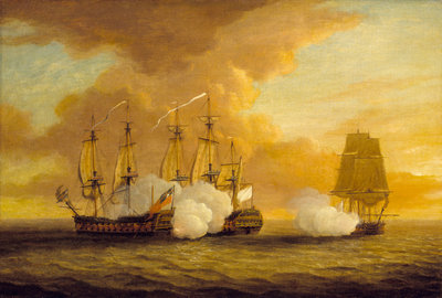 Action between HMS 'Lion' and 'Elizabeth' and the 'Du Teillay', 9 July 1745 by Dominic Serres the Elder - print