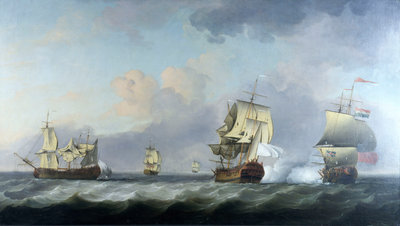 The capture of the 'Marquise d'Antin' and 'Louis Erasme' by the English Privateers 'Duke' and 'Prince Frederick' by Charles Brooking - print