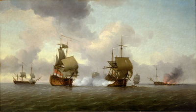The capture of the 'Glorioso', 8 October 1747 by Charles Brooking - print