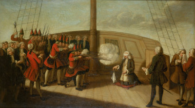 The execution of Admiral Byng, 14 March 1757 by British School - print