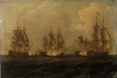 Action off Cape Francois, 21 October 1757 by John Cleveley, the Elder - print
