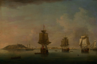 Attack on Goree, 29 December 1758 by Dominic Serres the Elder - print