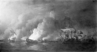 French fireships attacking the English fleet off Quebec, 28 June 1759 by Samuel Scott - print