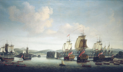 The capture of Saint Lucia, 26 February 1762 by Dominic Serres the Elder - print