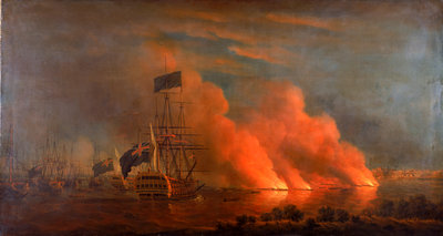 The burning of the Turkish fleet in Chesme Bay, 7 July 1770 by Richard Paton - print