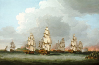 Destruction of the American Fleet at Penobscot Bay, 14 August 1779 by Dominic Serres the Elder - print