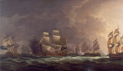 The Moonlight Battle: the Battle off Cape St Vincent, 16 January 1780 by Dominic Serres the Elder - print