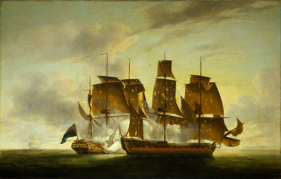 The capture of the 'Amazone' by HMS 'Santa Margarita', 29 July 1782 by Robert Dodd - print