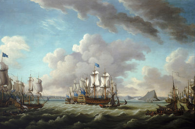 Relief of Gibraltar by Earl Howe, 11 October 1782 by Richard Paton - print
