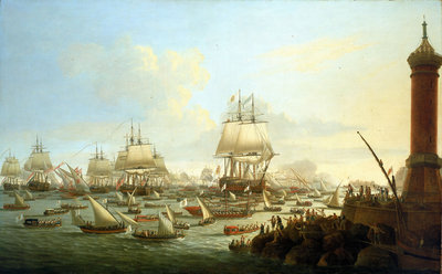 Arrival of their Sicilian majesties at Naples, 12 October 1785 by Dominic Serres the Elder - print