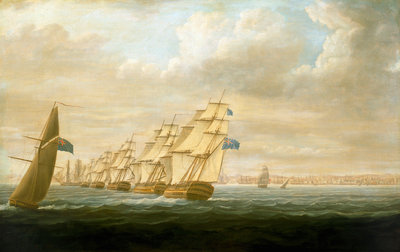 Nelson's inshore blockading squadron at Cadiz, July 1797 by Thomas Buttersworth - print