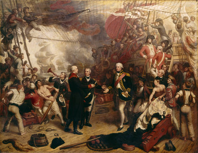 Admiral Duncan receiving the sword of the Dutch Admiral de Winter at the Battle of Camperdown, 11 October 1797 by Samuel Drummond - print