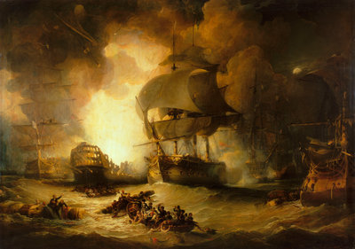 The destruction of 'L'Orient' at the Battle of the Nile, 1 August 1798 by George Arnald - print