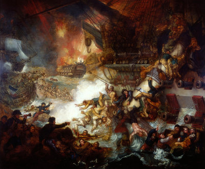 The Battle of the Nile: Destruction of 'L'Orient', 1 August 1798 by Mather Brown - print