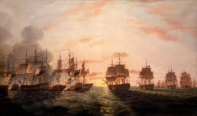 The Battle of the Nile, 1 August 1798 by Thomas Luny - print