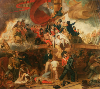 The death of Nelson at the Battle of Trafalgar, 21 October 1805 by Samuel Drummond - print