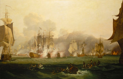 The Battle of Trafalgar, 21 October 1805 by Samuel Drummond - print