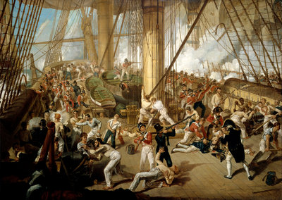 The fall of Nelson, Battle of Trafalgar, 21 October 1805 by Denis Dighton - print