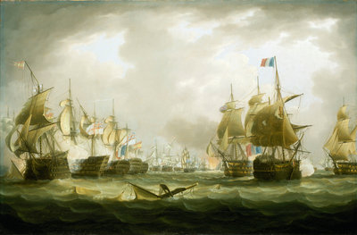 The Battle of Trafalgar, 21 October 1805, beginning of the action by Thomas Buttersworth - print