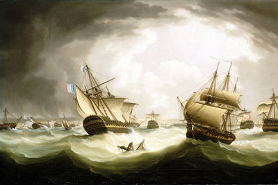 The Battle of Trafalgar, 21 October 1805, end of the action by Thomas Buttersworth - print
