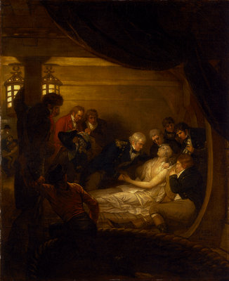The death of Lord Nelson in the cockpit of the ship 'Victory' by Benjamin West - print