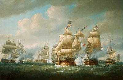 Duckworth's action off San Domingo, 6 February 1806 by Nicholas Pocock - print