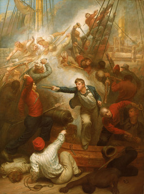 Captain William Rogers capturing the 'Jeune Richard', 1October 1807 by Samuel Drummond - print
