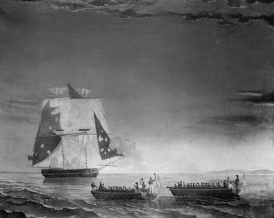 The capture of HMS 'Tickler', 4 June 1808 by British School - print