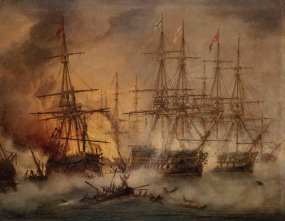 The Battle of Navarino, 20 October 1827 by Thomas Luny - print