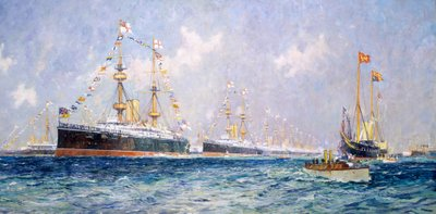 Queen Victoria's diamond jubilee review at Spithead, 26 June 1897 by Charles Dixon - print